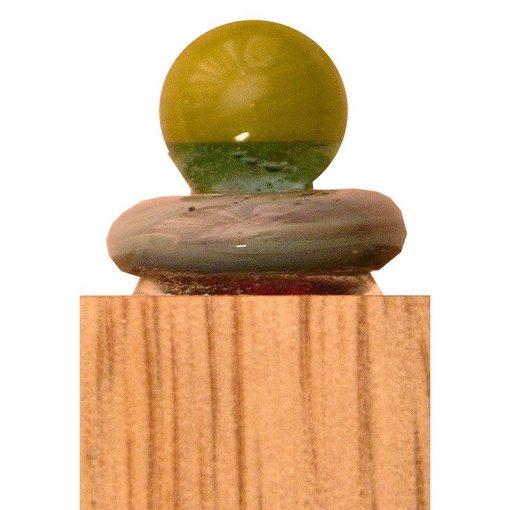 wood and glass mizuzah glass detail