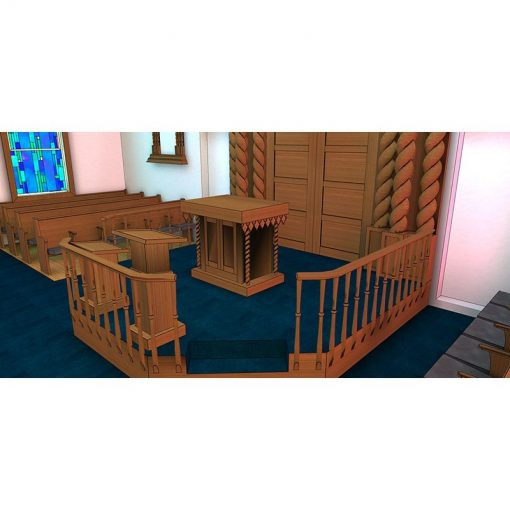 Podiums and Bimah with railings from wood for synagogue design