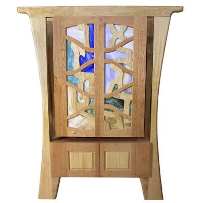 hanging cherry wood torah ark with stained glass and wood doors