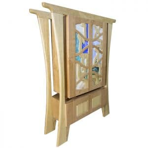 hanging cherry wood aron kodesh with stained glass doors