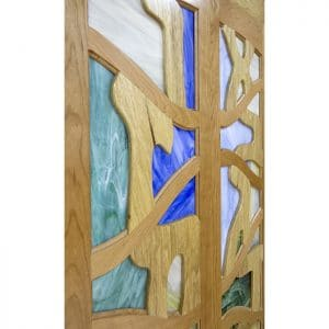detail of stained glass inset into wood doors