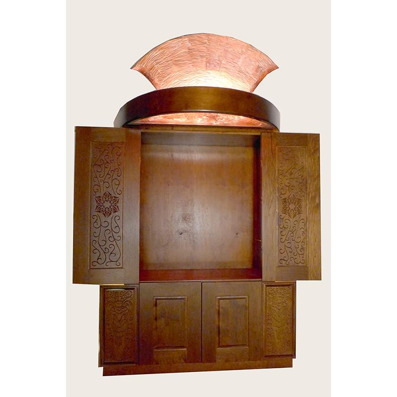 Pillar of Fire Aron Kodesh carved doors open
