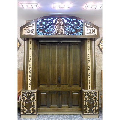 Custom Built Synagogue Aron Kodesh in Long Island City, Queens with carving and stained glass