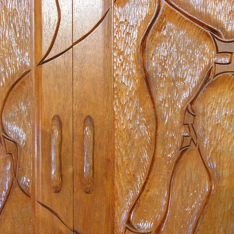 Tulane Hillel wood aron kodesh with carved doors