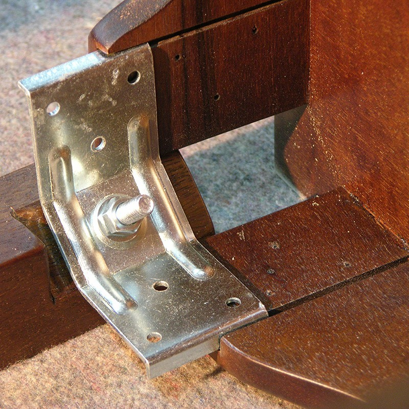 how to attach metal leg bracket for standing cabinet