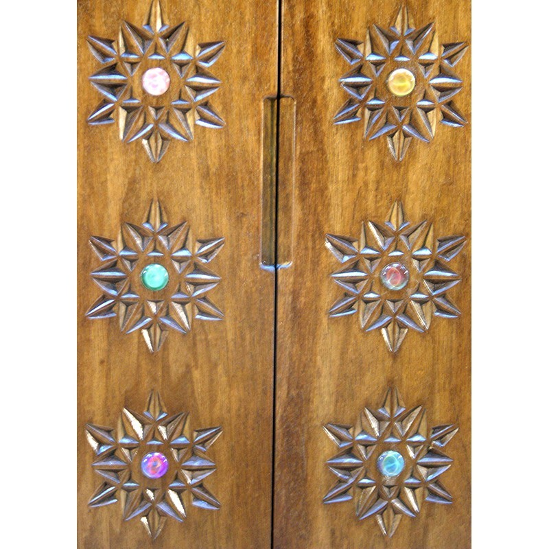 portable torah ark wood carved with twelve tribes wood doors with carving and glass inlays