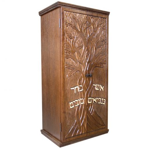 Small portable solid wood carved aron kodesh for one torah