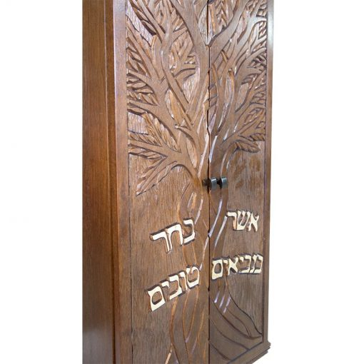 Small portable solid wood carved torah ark