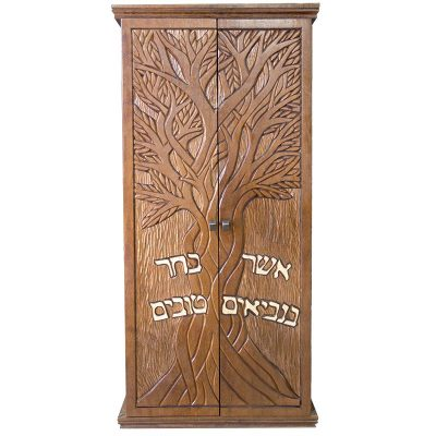 Small portable solid wood carved aron kodesh