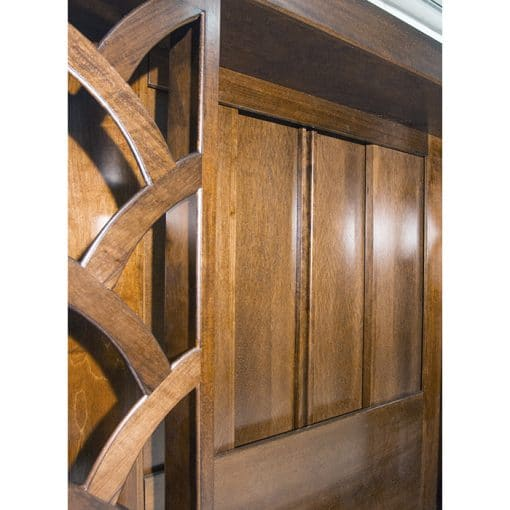 wood aron kodesh with stain glass decorative sides