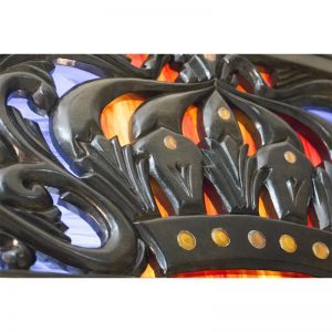 Aron Kodesh for Columbia, South Carolina Chabad ner tamid with carving and glass