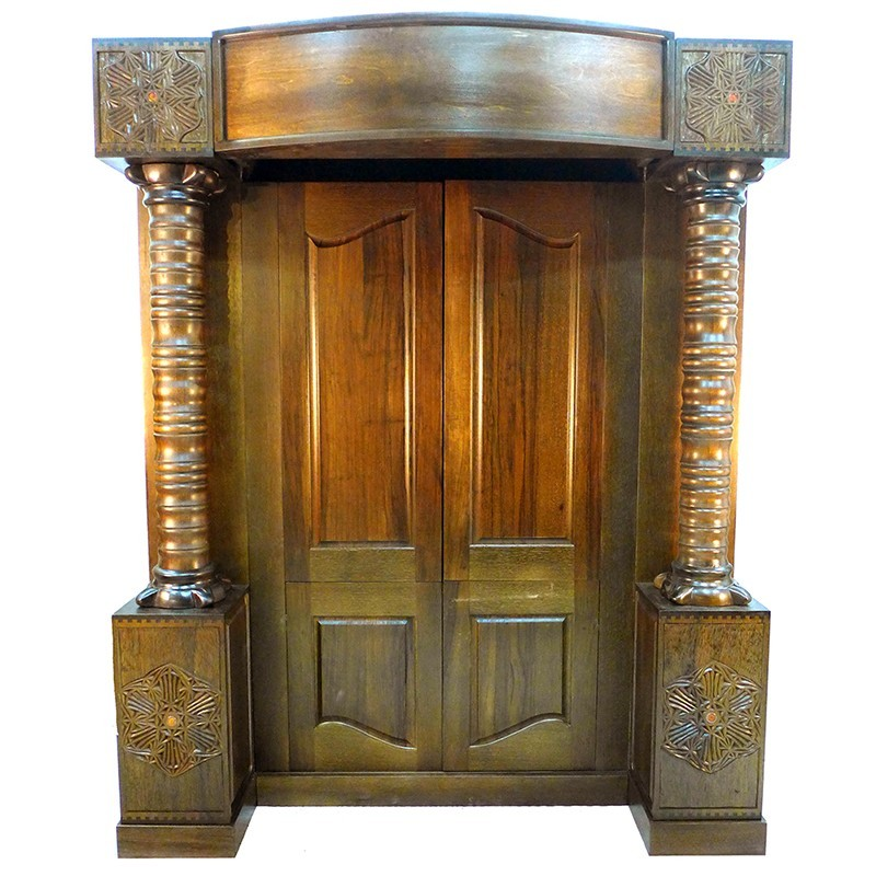 wood traditional aron kodesh with bookshelves