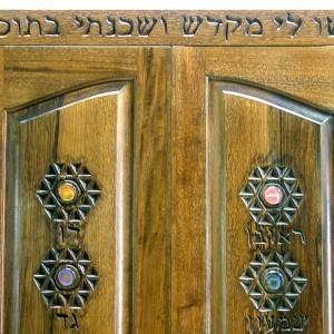 Hanging Mishkan Aron Kodesh carved solid wood doors with panels
