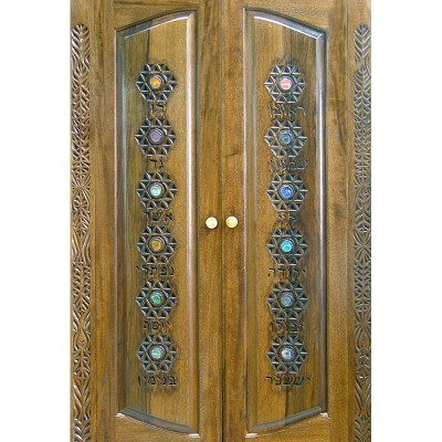 Hanging Mishkan Aron Kodesh from wood featuring twelve tribes carving