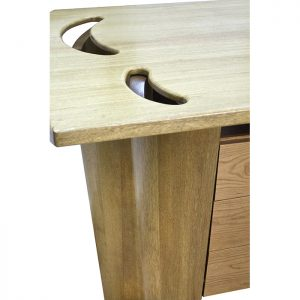 Solid wood torah table with laminate carving