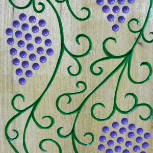 Portable folding torah table podium carving and painting detail of grapes