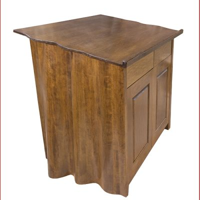 Torah Reading Table Carved from solid wood side view of soft curtain