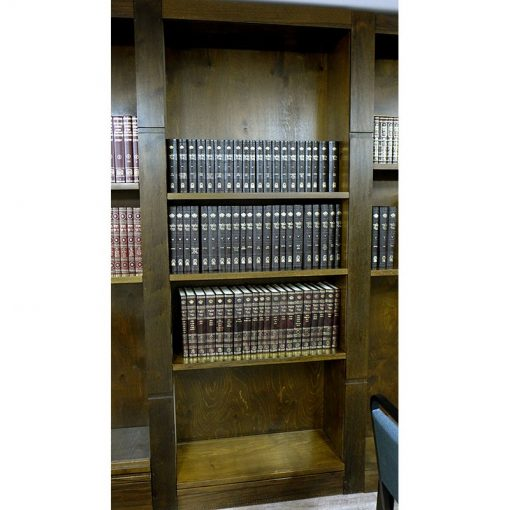 wood bookshelves built as a library for bet midrash in Toronto