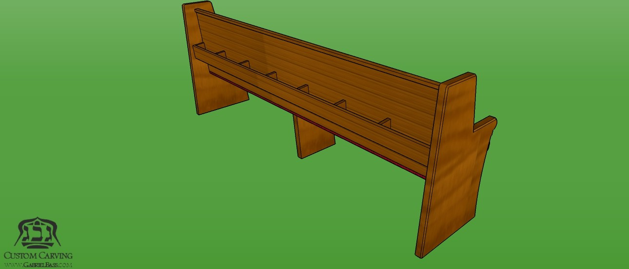 Bench for synagogue with book holder