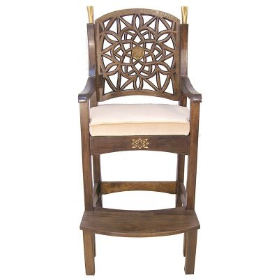 Hand Carved elijah's chair with gold details