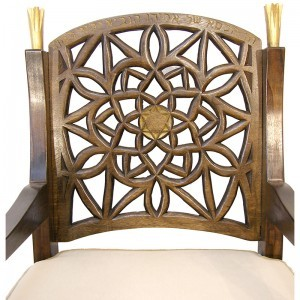 Hand Carved elijah's chair with gold chair back details