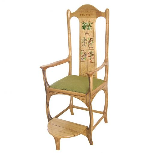 contemporary Seven Species carved and painted elijah's chair with upholstered green seat