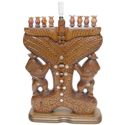 handcarved sephirot hannukiah menorah hand carved