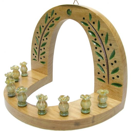 wall hung carved wood hannukiah menorah