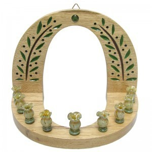 wall hung carved wood hannukiah menorah front view