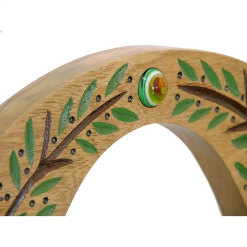 wall hung carved wood hannukiah menorah carving and glass detail