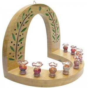 wall hung carved wood hannukiah menorah with blown glass