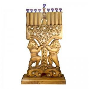 hand carved lions and flameworked glass menorah