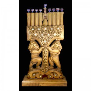 Hnad carved menorah hannukiah