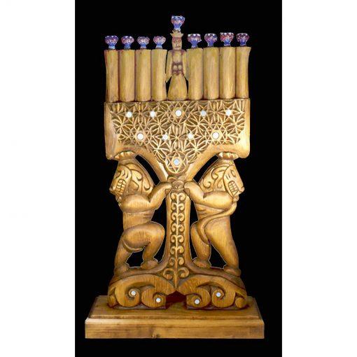Hnad carved menorah hannukiah