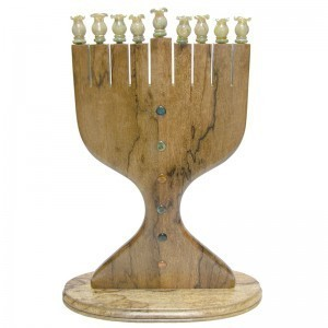 African Walnut menorah with flameworked glass inlays and glass blowing