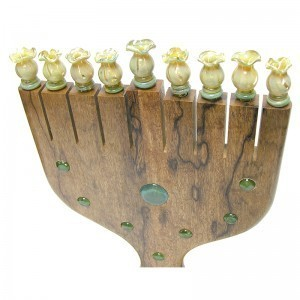 top of African Walnut menorah with glass inlays
