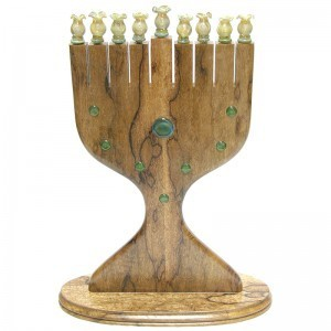 African Walnut menorah with glass inlays
