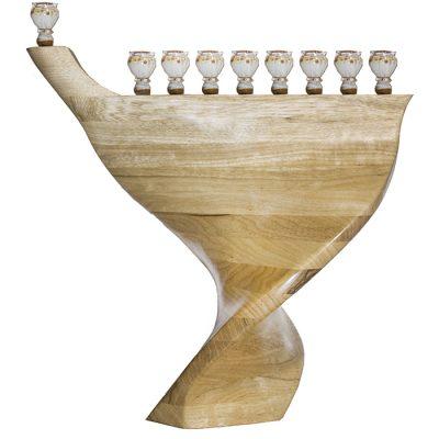 wood and glass twisted hannukiah menorah