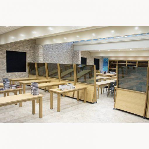 Margolin Hebrew Academy Memphis tables and mechitza in chapel