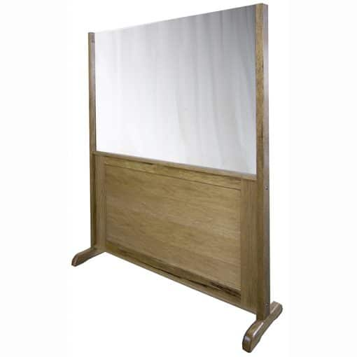 mechitza with wood panel and one-way mirror