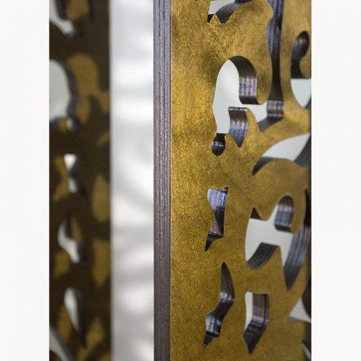wood mechitza with laser cut lattice pattern