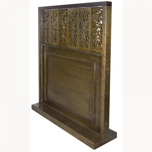 wood mechitza with laser cut lattice decorative elements closed from the side
