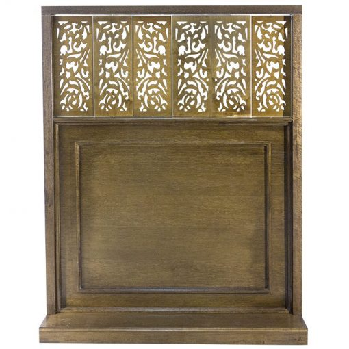 wood mechitza with laser cut lattice decorative elements