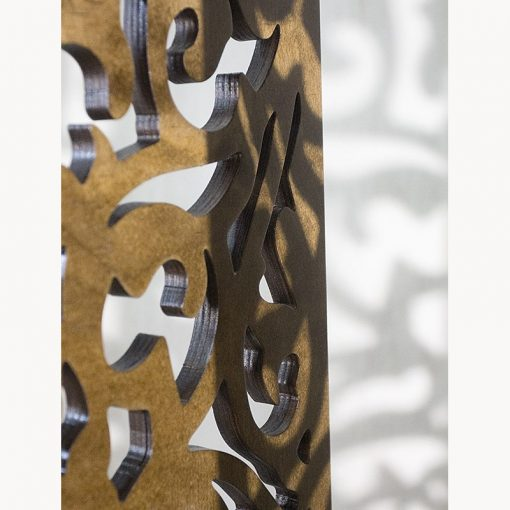 wood mechitza with laser cut lattice decorative elements see through