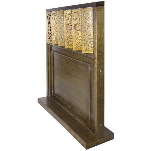 wood mechitza with laser cut lattice decorative elements open on hinged panels