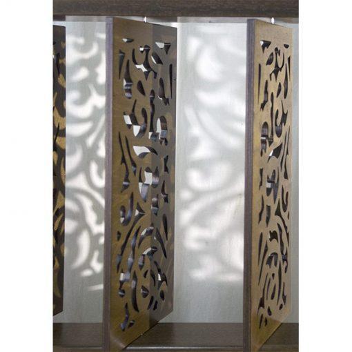wood mechitza with laser cut lattice decorative elements shadows