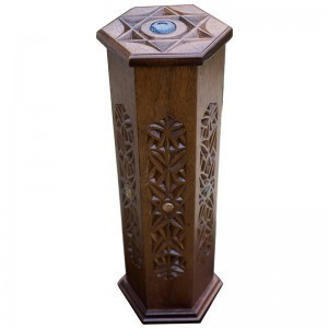 Carved wooden megillah ester case with glass inlays