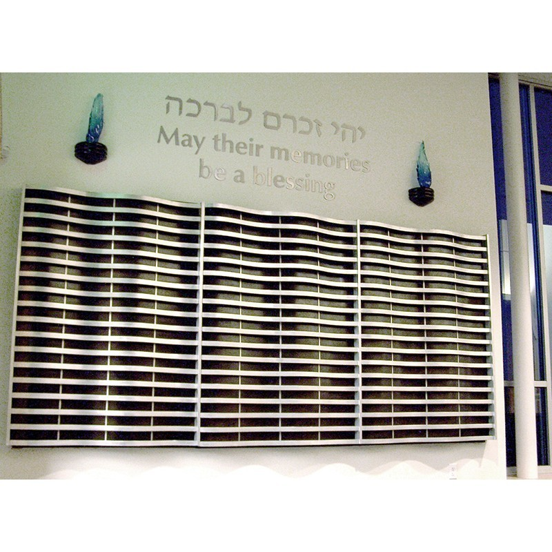 Synagogue Memorial Board from aluminium, wood, and glass