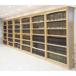 Margolin Hebrew Academy Memphis shelves with crown molding and curves