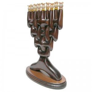 braided wood menorah for Hannukah side view